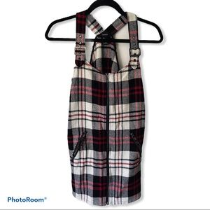 Forever 21 Multicolor Plaid Overall Zip Dress S